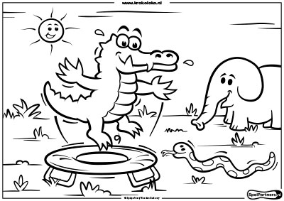 gratis kleurplaat zomerpret kroko loko